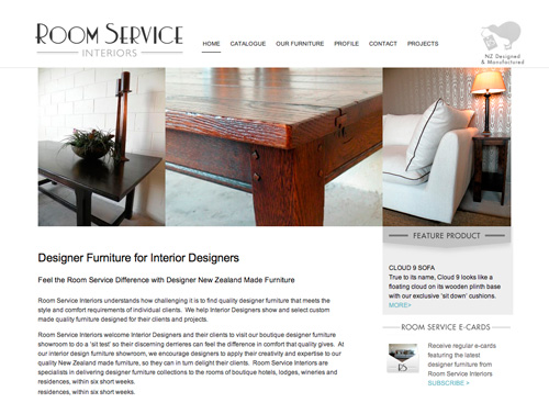 Room Service Interiors Furniture Web Site Design By Duffy - Web Site Designer