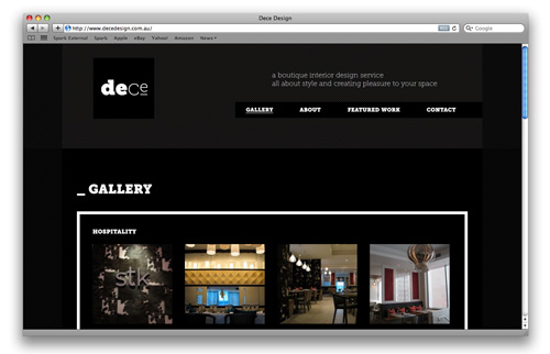 Logo and Website Design - Dece Design Interior Design
