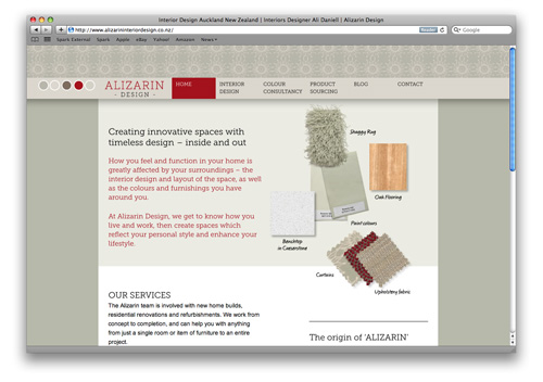 Interior Design Website Design Alizarin