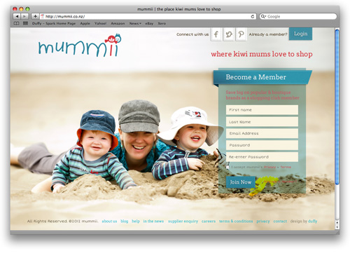 Design for magento commerce website mummii