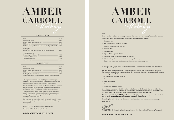 Amber Carroll Pricelist Enquiry Info Letter Design Duffy Design
