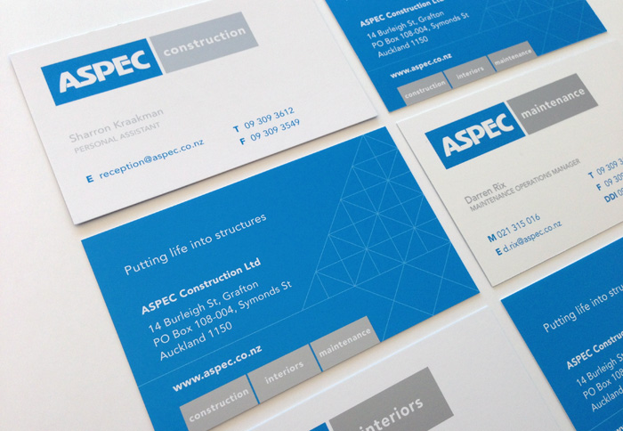 Aspec Construction Business Card Design Duffy Design