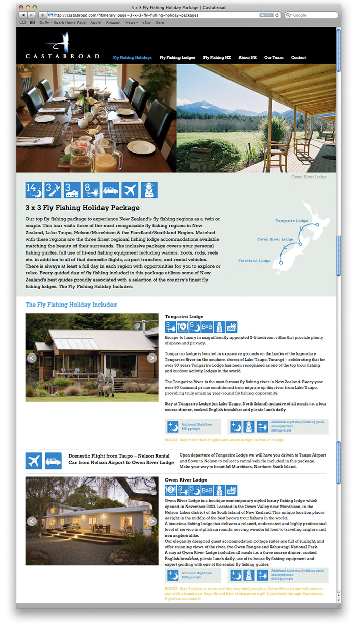 Castabroad Website Design Itinerary Page Duffy Design