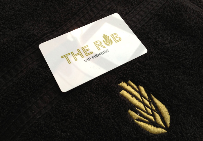 Retail Branding & Custom Loyalty Card Design Embroidered Towel The Rub Newmarket Auckland