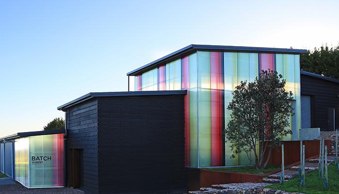 winery branding exterior panels