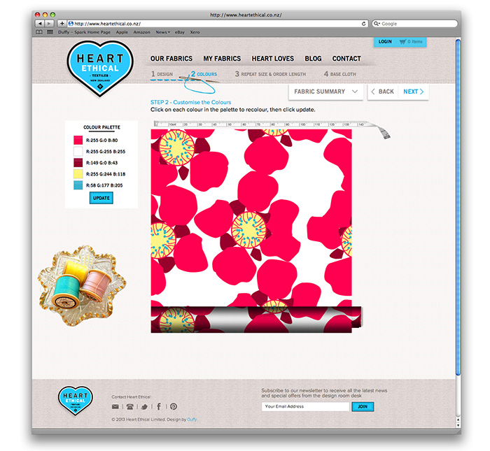 Customised Website Heart Ethical Textiles